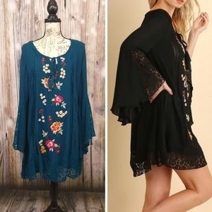 Umgee Floral Crochet Bell Sleeve Dress Large
